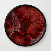 weed Wall Clocks featuring Red Weed by Steve Purnell