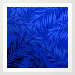 Palm Tree Fronds Brilliant Blue on Blue Hawaii Tropical Décor Art Print