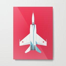 MiG-25 Foxbat Interceptor Jet Aircraft - Crimson Metal Print