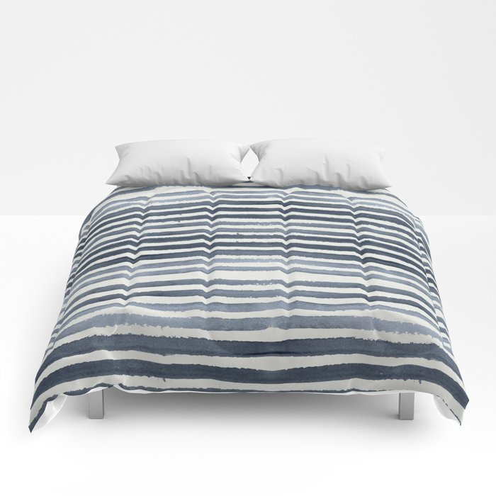 Simply Shibori Stripes Indigo Blue on Lunar Gray Comforters