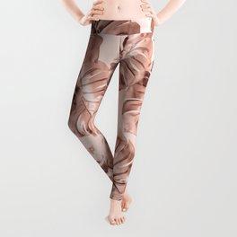 Rose Gold Monstera Leggings