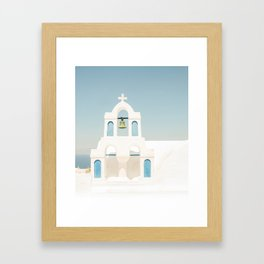 White Church and Church Bells on Santorini Island Greece Oia Framed Art Print