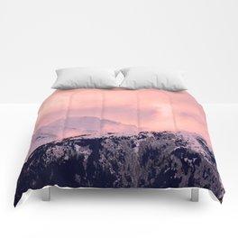 Kenai Mts Bathed in Serenity Rose - II Comforters