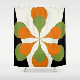 Mid-Century Modern Art 1.4 - Green & Orange Flower Shower Curtain