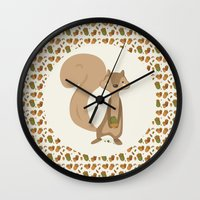 squirrel Wall Clocks featuring Squirrel by Jane Mathieu