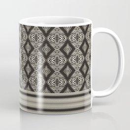 Monochrome Modern Aztec Diamond Mosaic and Waves Coffee Mug
