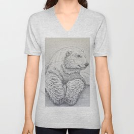 Polar Bear At Rest Unisex V-Neck