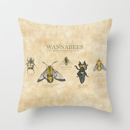 wannabees: Bee Mimicking Inects Throw Pillow