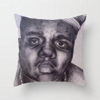 biggie Throw Pillows featuring BIGGIE by Tara Dacle