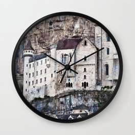 Medieval Facade of the French Castle in Rocamadour Wall Clock