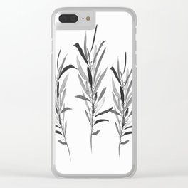 Eucalyptus Branches Black And White Clear iPhone Case