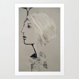 Grey skies, fur coat.  Art Print
