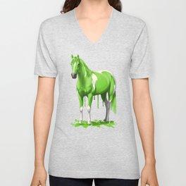 Neon Green Wet Paint Horse Unisex V-Neck