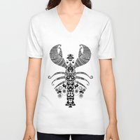 lobster V-neck T-shirts featuring 17th Century Lobster by Farnell
