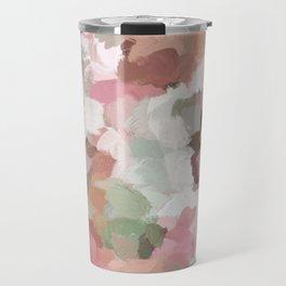 Sage Mint Green Fuchsia Blush Pink Abstract Flower Wall Art, Springtime Painting Print, Modern Wall Travel Mug