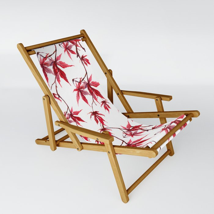 Watercolor Botanical Red Japanese Maple Leaves on Solid White Background Sling Chair