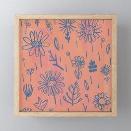 Peach Floral Framed Mini Art Print