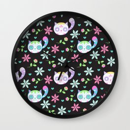 Cute Dia De Los Muertos Cats Wall Clock