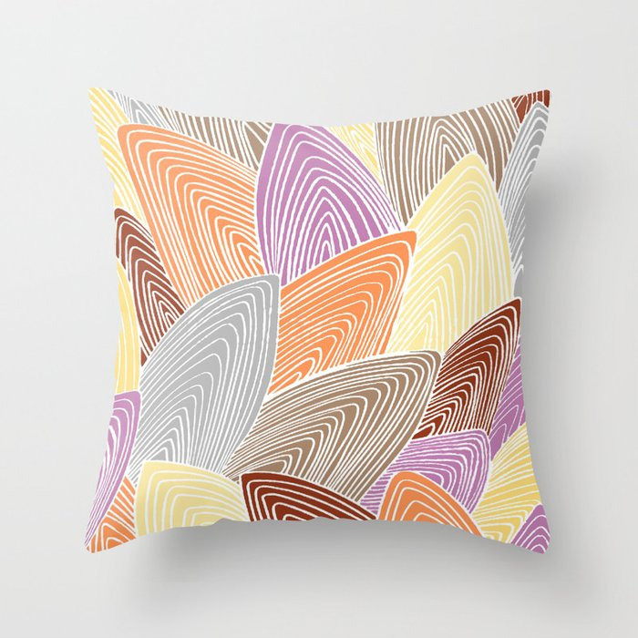 Pale Leaf Design Throw Pillow