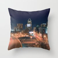 baltimore Throw Pillows featuring Baltimore by Andrew Mangum