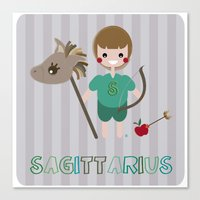 sagittarius Canvas Prints featuring Sagittarius by Esther Ilustra
