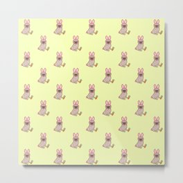 Pug dog in a rabbit costume pattern Metal Print