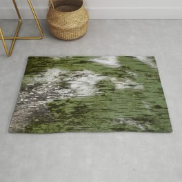 Birch Bark Pattern Green and White Wood Pattern Bring the Outdoors In Rug