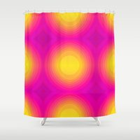 70s Shower Curtains featuring Flashy 70s,pink by MehrFarbeimLeben