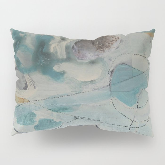 still waters - mixed media ocean collage in modern fresh colors mint, teal, cream, white, and gold Pillow Sham