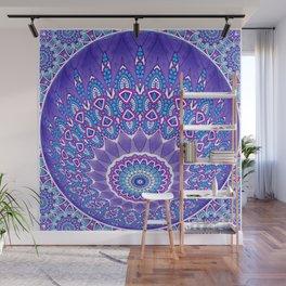 Indian Patterns Mandala Ball - Blue Pink White Wall Mural