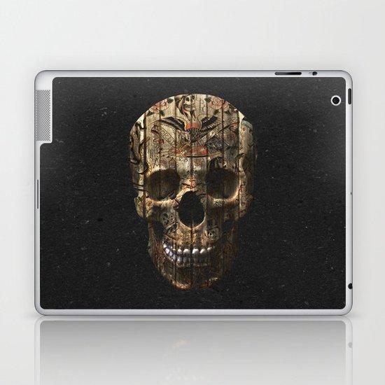 Vintage American Tattoo Skull Wood Stripes Texture Laptop & iPad Skin