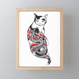 Cat in Grey Snake Tattoo Framed Mini Art Print