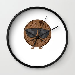 Funny Coconut Halloween Costume Coconut With Sunglasses Wall Clock