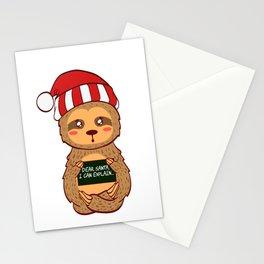 Lazy Animal Sloth Dear Santa I Can Explain Naughty List Christmas Xmas Holiday Season T-shirt Design Stationery Cards