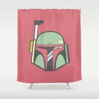 boba Shower Curtains featuring Boba Fett by CaseyIllustrates