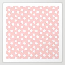 Brushy Dots Pattern - Pink Art Print