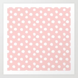 Brushy Dots Pattern - Pink Art Print