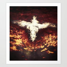 Fantasy artwork. Angel or Damon? Winged crature with crown. Art Print