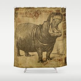 Vintage retro Hippo wildlife animal africa Shower Curtain