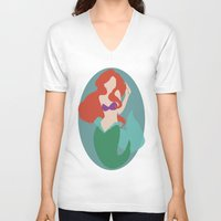 ariel V-neck T-shirts featuring Ariel by Polvo