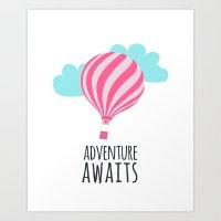Adventure Awaits Hot Air Baloon Nursery Children Print Art Print