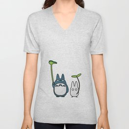 Chu & Chibi Totoro Pop art - Black Version Unisex V-Neck