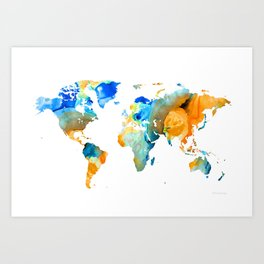 World Map Art - Map Of The World 14 - By Sharon Cummings Art Print