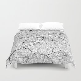London White Map Duvet Cover