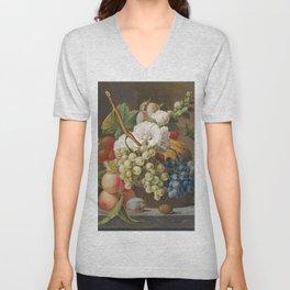 Stilleven met bloemen en fruit in een mandje (ca 1791) in high resolution by Anthony Oberman Unisex V-Neck