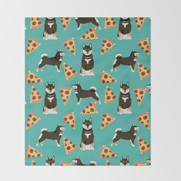 shiba inu pizza black and tan dog breed pet pattern dog mom Throw Blanket