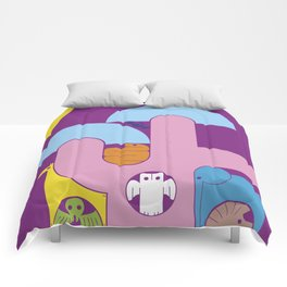 Abstract cartoon animal characters. Tree in the savannah with animals Comforters