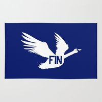 finland Area & Throw Rugs featuring National Bird of Finland by Infinite Sparrow