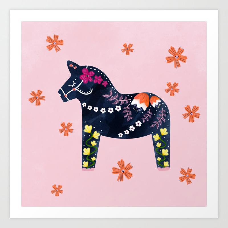 Not Your Usual Dala Horse Art Print By Hannahjadedesigns Society6