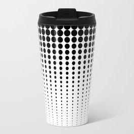 Reduced black Dots on Solid White Blackground Illustration Travel Mug